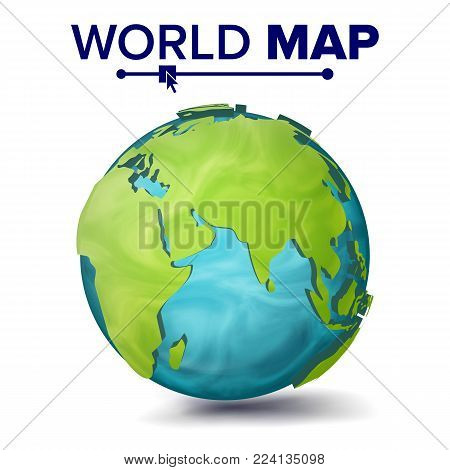 World Map Vector. 3d Planet Sphere. Earth With Continents. Eurasia, Australia, Africa Illustration