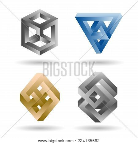 Impossible shape set. Vector 3d geometry surrealistic paradox undecided shapes isolated on white background