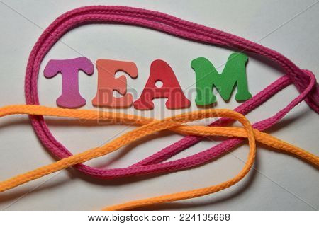 word team on an  abstract colorted  background