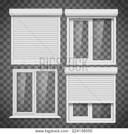 Set of pvc windows and metal roller blind on a transparent background. Plastic products. Stock vector illustration.