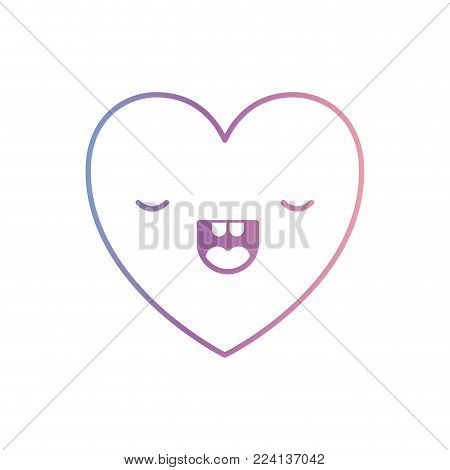 heart kawaii in frightened expression in degraded blue to purple color contour vector illustration