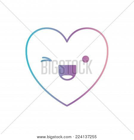 heart kawaii in wink expression in degraded blue to purple color contour vector illustration