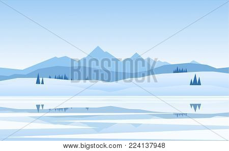 Vector illustration: Mountains winter frozen Lake landscape with pine and reflection.