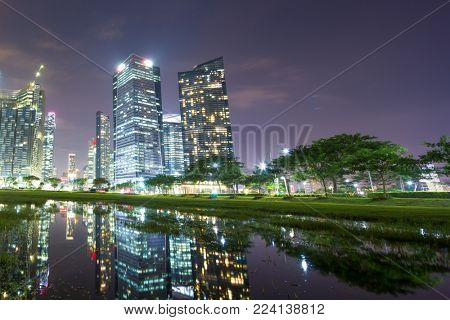 modern buildings in midtown of singapore at night from green grass land