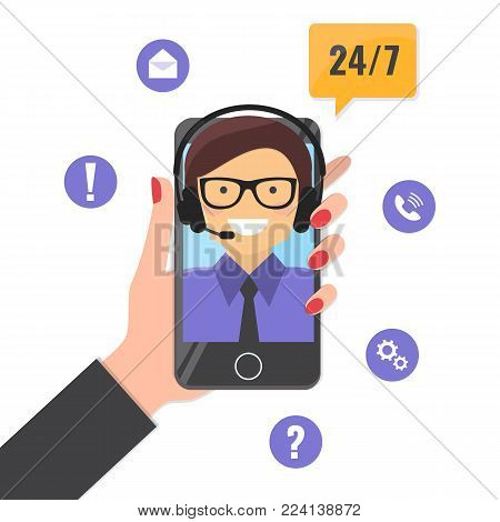 Online tech support service concept. Happy male helpline operator with headset consulting online on smartphone. Vector illustration.
