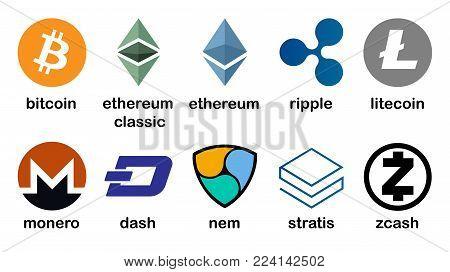 Cryptocurrency logo set - bitcoin, litecoin, ethereum, ethereum classic, monero, ripple, zcash dash stratis nem Vector illustration
