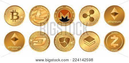 Cryptocurrency logo set - bitcoin, litecoin, ethereum, ethereum classic, monero, ripple, zcash dash stratis nem. Golden coins with Cryptocurrency symbol isolated on white background.