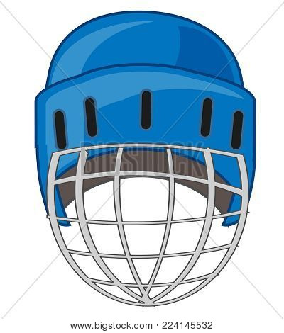 Helmet for hockey on white background is insulated