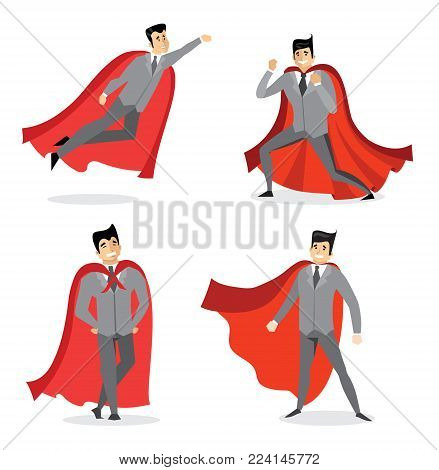 Vector illustrations in flat design of set of businessman Superhero with the red cloak.