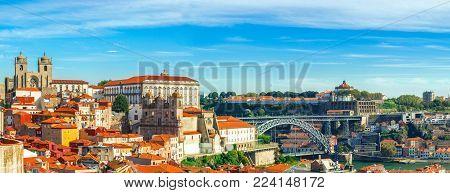 Porto, Portugal. Panoramic view of downtown of Porto, Portugal with Dom Luis I Bridge over Douro River. Cityscape