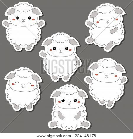 Vector set of cute sheep. Sheep made in cartoon style.