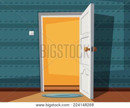 Open door. Cartoon vector illustration. Inside of home. Empty space on doorway. Interior of house