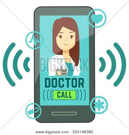 Flat mobile doctor, personalized medicine consultant on smartphone screen. Medicine online, consultation doctor on smartphone app. Vector illustration