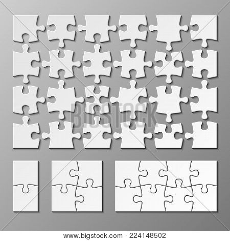 Jigsaw puzzle piece vector template isolated. Jigsaw piece puzzle object illustration