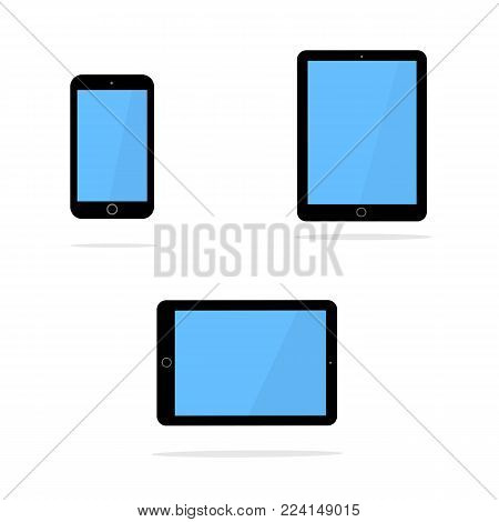 Icons of black smart phone and tablet with blank screen in ipad style . Flat design, vector illustration.