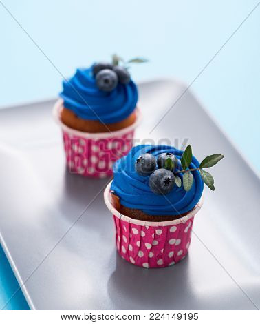 Two delicious cupcakes on a rectangular plate, closeup shot