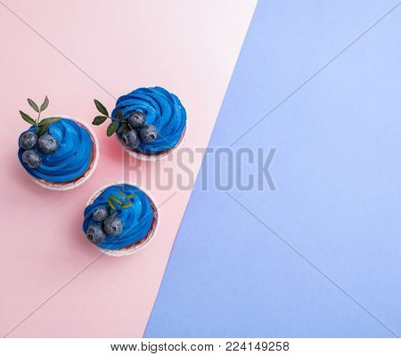 Tasty cupcakes with blue cream over two color plain background. Top view.