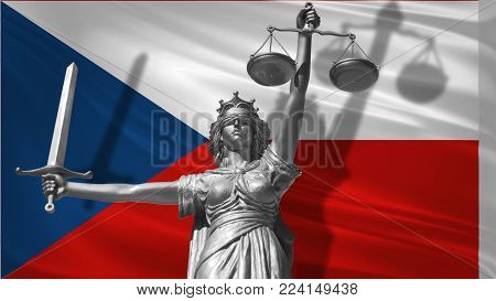 Cover about Law. Statue of god of justice Themis with Flag of Czech Republic background. Original Statue of Justice. Femida, with scale, symbol of justice with Czech Republic flag 3d rendering.