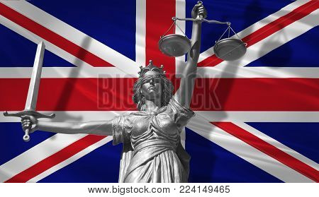 Cover about Law. Statue of god of justice Themis with Flag of United Kingdom background. Original Statue of Justice. Femida, with scale, symbol of justice with United Kingdom flag 3d rendering.