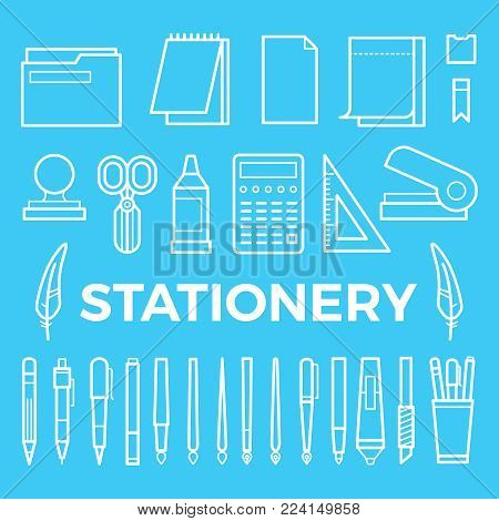 Line style stationery icons collection. Vector office stationery pencil, marker and pen, brush and ballpoint illustration, stapler, paintbrush,