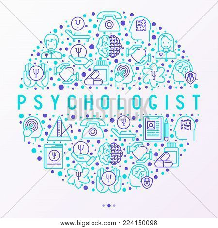 Psychologist concept in circle with thin line icons: psychiatrist, disease history, armchair, pendulum, antidepressants, psychological support. Vector illustration for banner, web page, print media.