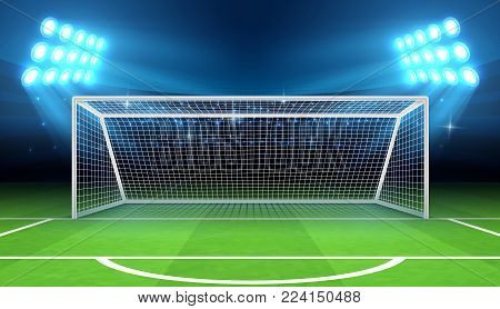 Sports stadium with soccer goal vector illustration. Soccer field and stadium, football arena with gate