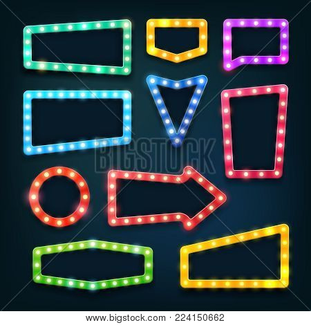 Vintage movie theater light signs. Vegas casino empty frames with lightbulbs vector set. Light neon frame for casino banner illustration