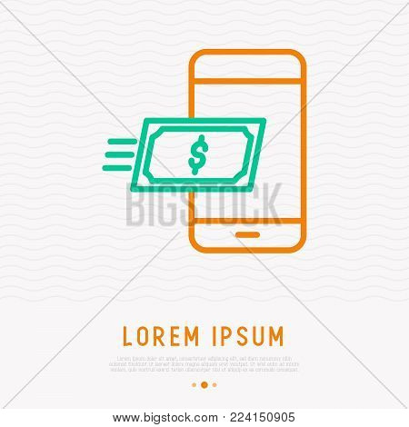 Money flying on phone thin line icon. modern vector illustration of online transaction.
