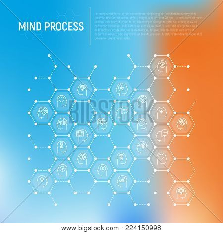 Mind process concept in honeycombs with thin line icons: intelligence, passion, conflict, innovation, time management, exploration, education, logical thinking. Modern vector illustration.