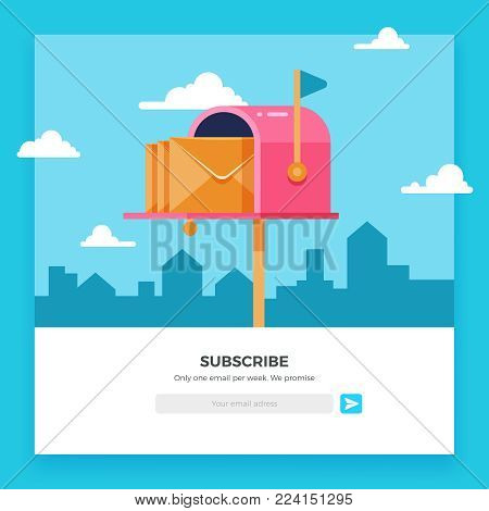 Email subscribe, online newsletter vector template with mailbox and submit button. Envelope and subscribe button, newsletter website illustration
