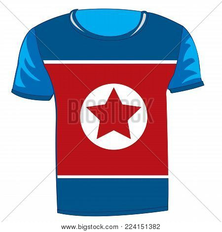 T-shirt with flag of the Democratic People s Republic of Korea
