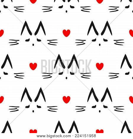 Repeated heart and outline of cat's head drawn by hand. Cute seamless pattern for children. Endless vector illustration.