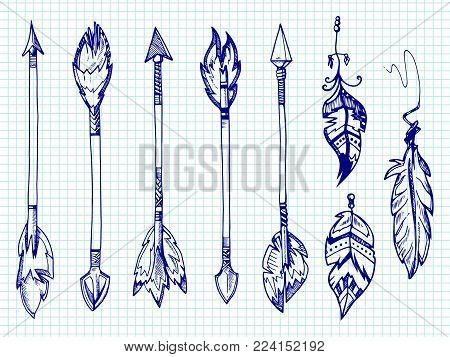 Ballpoint pen feathers and arrows set on notebook page. Arrow feather drawing, indian and aztec arrowhead illustration
