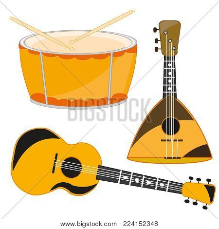 Several music instruments on white background is insulated