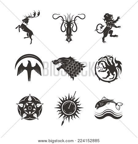 Great kingdoms houses gaming heraldic vector icons with line animals and throne symbols. Animal tattoo for medieval heraldry illustration