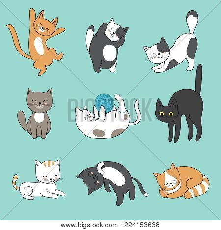Cool doodle abstract cats vector characters. Hand drawn cartoon kittens. Animal funny character, feline mascot fluffy illustration