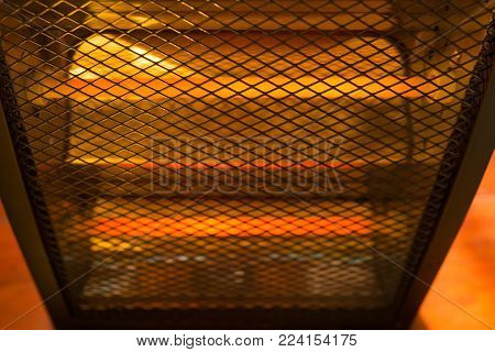 an electric heater working in a room