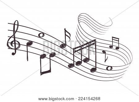 Sketch musical sound wave with music notes. Hand drawn vector illustration. Music note doodle and audio record