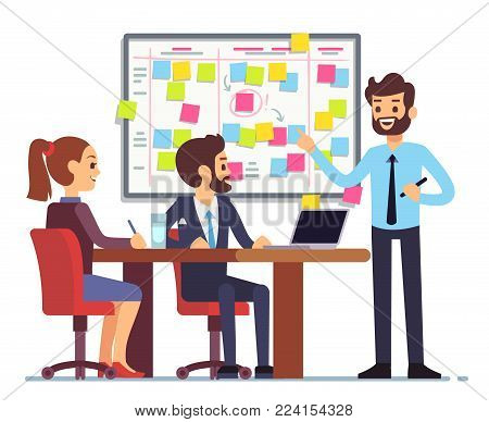 Students team work on tasks process schedule in training room with scrum planning board. Teamwork scheme planning on whiteboard, vector illustration