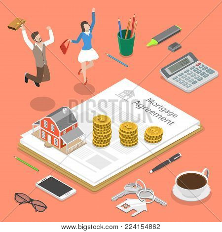 Mortgage flat isometric vector concept. Family couple is jumping for joy near the mortgage agreement and some corresponding attributes.