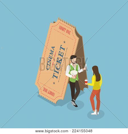 Movie tickets flat isometric vector concept. Young couple is standing near the two big paper tickets.