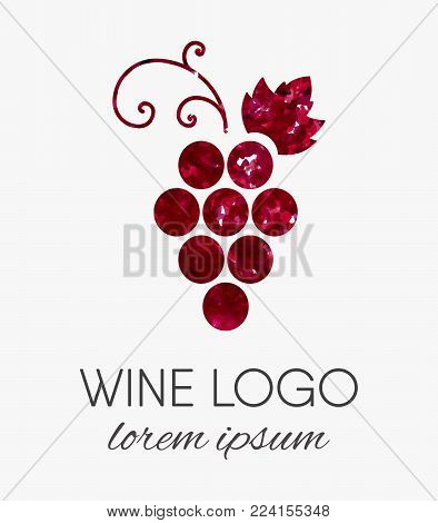 Red grapes logo with watercolor texture. Wine or vine logotype in grunge style. Brand design element for organic wine, wine list, menu, liquor store, selling alcohol, wine company. Vector illustration