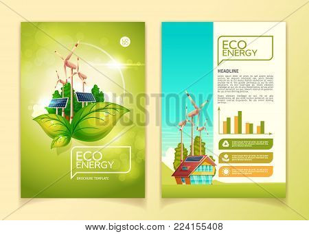 Eco energy concept brochure template vector illustration for green nature environment conservation and natural resources. Flat booklet design template of headlines and text presentation for ecology