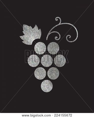 Silver textured grapes logo. Luxury wine or vine logotype icon. Brand design element for organic wine, wine list, menu, liquor store, selling alcohol, wine company. Vector illustration.