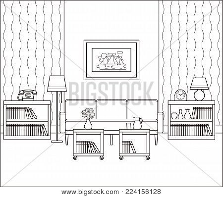 Living room interior sketch. Retro room in line art. Vector. Linear vintage illustration. Thin line home space with furniture in flat design. Outline black white house equipment 60s 70s.