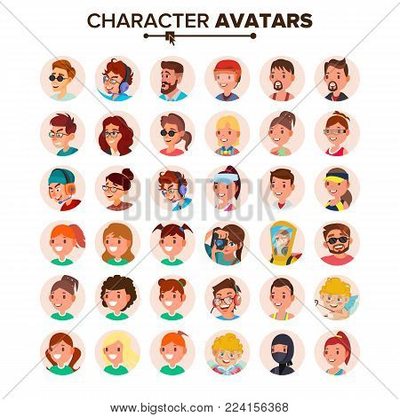 Character People Avatar Set Vector. Face. Default Avatar Placeholder. Cartoon, Comic Art Flat Isolated Illustration