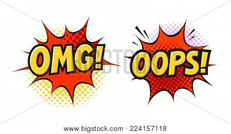 OMG, OOPS in pop art retro comic style. Cartoon vector illustration isolated on white background