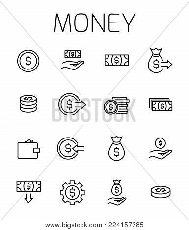 Money related vector icon set. Well-crafted sign in thin line style with editable stroke. Vector symbols isolated on a white background. Simple pictograms.
