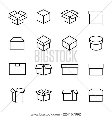 Set of 16 box thin line icons. High quality pictograms of package. Modern outline style icons collection. Container, delivery, cargo, shipping, etc.