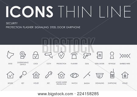 Set of SECURITY Thin Line Vector Icons and Pictograms